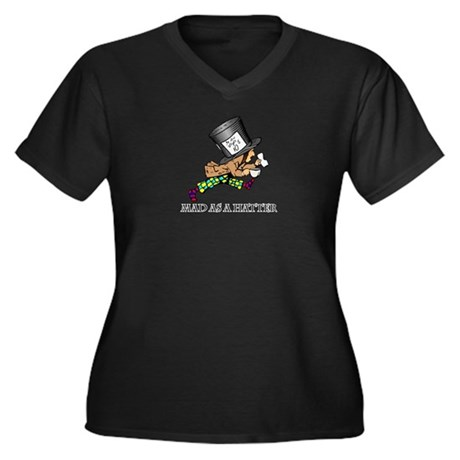 Mad Hatter Women's Plus Size V-Neck Dark T-Shirt