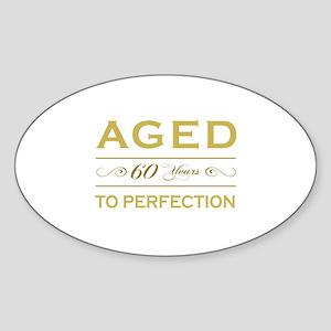 Stylish 60th Birthday Oval Sticker