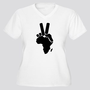 Africa Peace Sign Women's Plus Size V-Neck T-Shirt