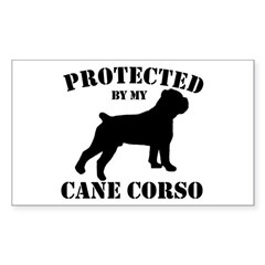 Protected by my Cane Corso Sticker (Rectangle)