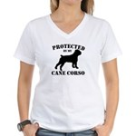 Protected by my Cane Corso Women's V-Neck T-Shirt