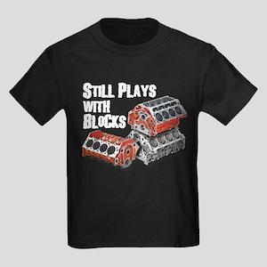 Still Plays With Blocks Kids Dark T-Shirt