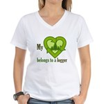 My Heart Belongs to a Logger Women's V-Neck T-Shir