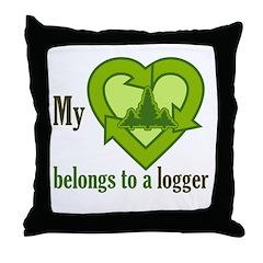 My Heart Belongs to a Logger Throw Pillow