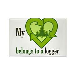 My Heart Belongs to a Logger Rectangle Magnet