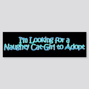 Naughty Catgirl Adoption Black Bumper Sticker