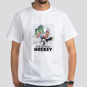Old School Dino Hockey White T-shirt