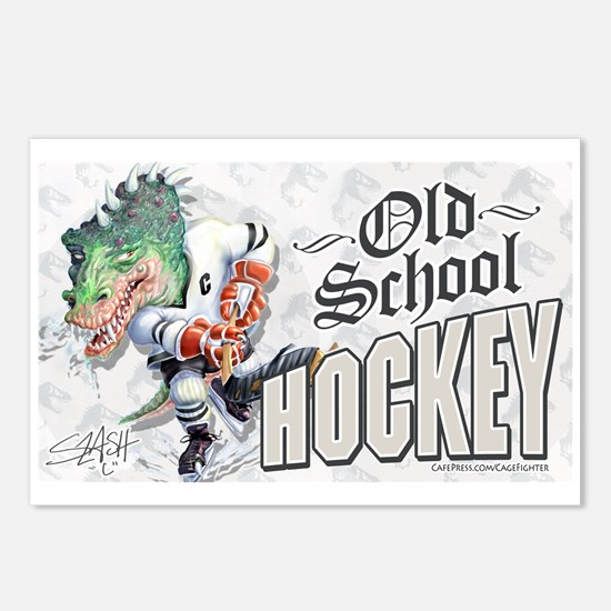 Old School Dino Hockey Postcards (Package of 8)