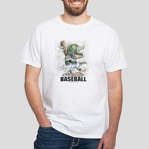 Old School Dino Baseball White T-shirt