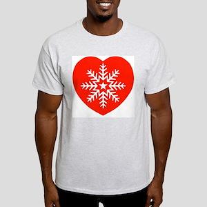 Snowflake Heart Ash Grey T-Shirt