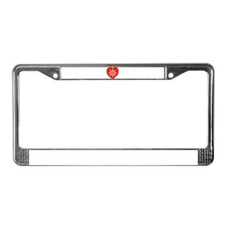 Snowflake Heart License Plate Frame