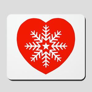 Snowflake Heart Mousepad