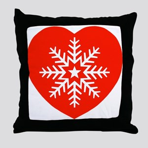 Snowflake Heart Throw Pillow