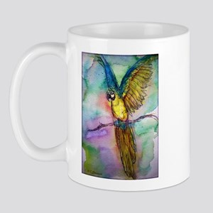 Blue Macaw. Colorful, Parrot, Mug