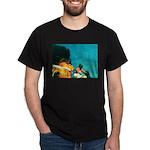 Crazy Flame Motorcycle Man on Dark T-Shirt