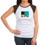 Crazy Flame Motorcycle Man on Women's Cap Sleeve T