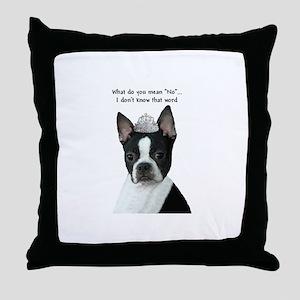 Boston Terrier Princess Throw Pillow