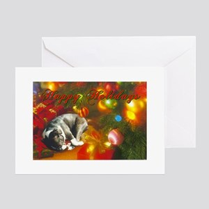 Happy Holidays Boston Terrier Greeting Card
