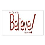 Believe! (Red) Rectangle Sticker 50 pk)