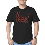 Believe! (Red) Men's Fitted T-Shirt (dark)