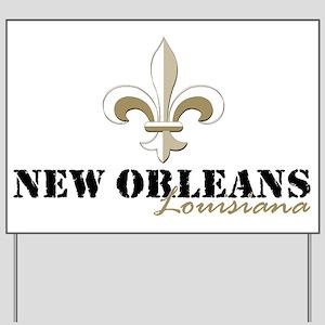 New Orleans Louisiana gold Yard Sign