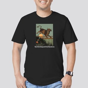 Cow Jump Men's Fitted T-Shirt (dark)