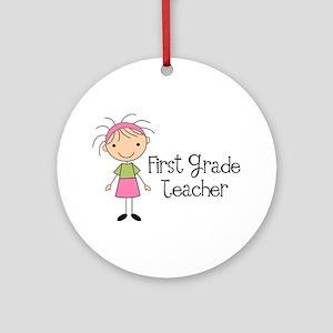 1st Grade Teacher Stick Figure Ornament (Round)