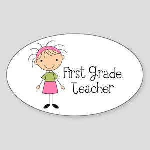 1st Grade Teacher Stick Figure Oval Sticker