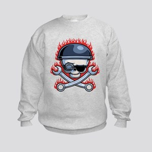 Skull and Cross Wrenches Kids Sweatshirt