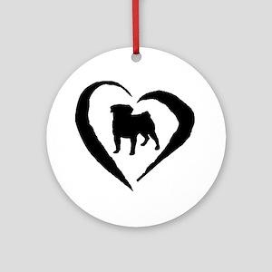 Pug Heart Ornament (Round)