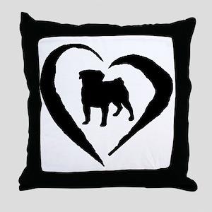 Pug Heart Throw Pillow