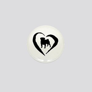 Pug Heart Mini Button