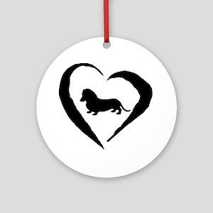 Mini Dachshund Heart Ornament (Round)