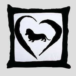 Mini Dachshund Heart Throw Pillow