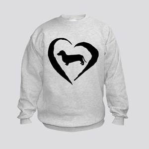 Dachshund Heart Kids Sweatshirt