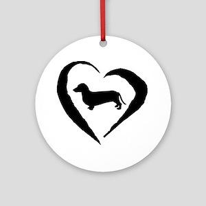 Dachshund Heart Ornament (Round)