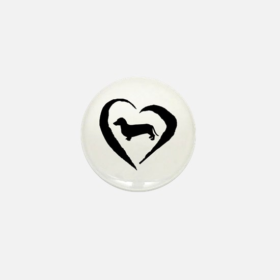 Dachshund Heart Mini Button