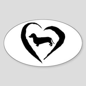 Dachshund Heart Oval Sticker