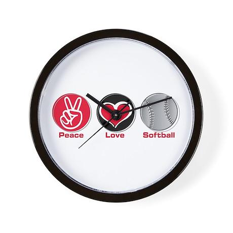 Peace Love Softball red Wall Clock