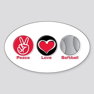 Peace Love Softball red Sticker (Oval)
