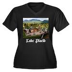 Lake Placid Women's Plus Size V-Neck Dark T-Shirt