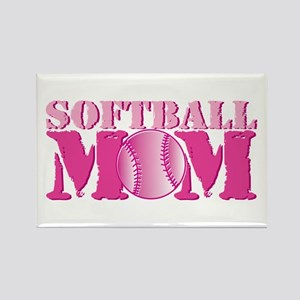 Softball Mom pink Rectangle Magnet