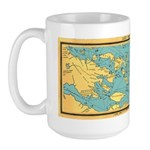 Panoramic 1911 Lake Winnipesaukee Map Large Mug