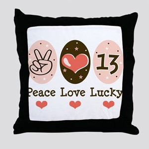 Peace Love Lucky 13 Throw Pillow