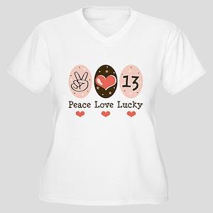 Peace Love Lucky 13 Women's Plus Size V-Neck T-Shi