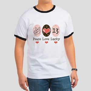 Peace Love Lucky 13 Ringer T