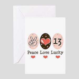 Peace Love Lucky 13 Greeting Card