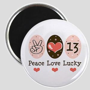 Peace Love Lucky 13 Magnet