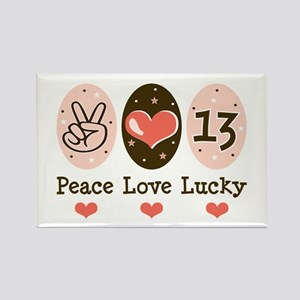 Peace Love Lucky 13 Rectangle Magnet