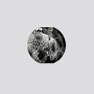 Grayscale Mums Mini Button